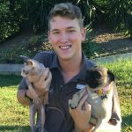 James Healy with pug Ava and sphinx cat Fluffy